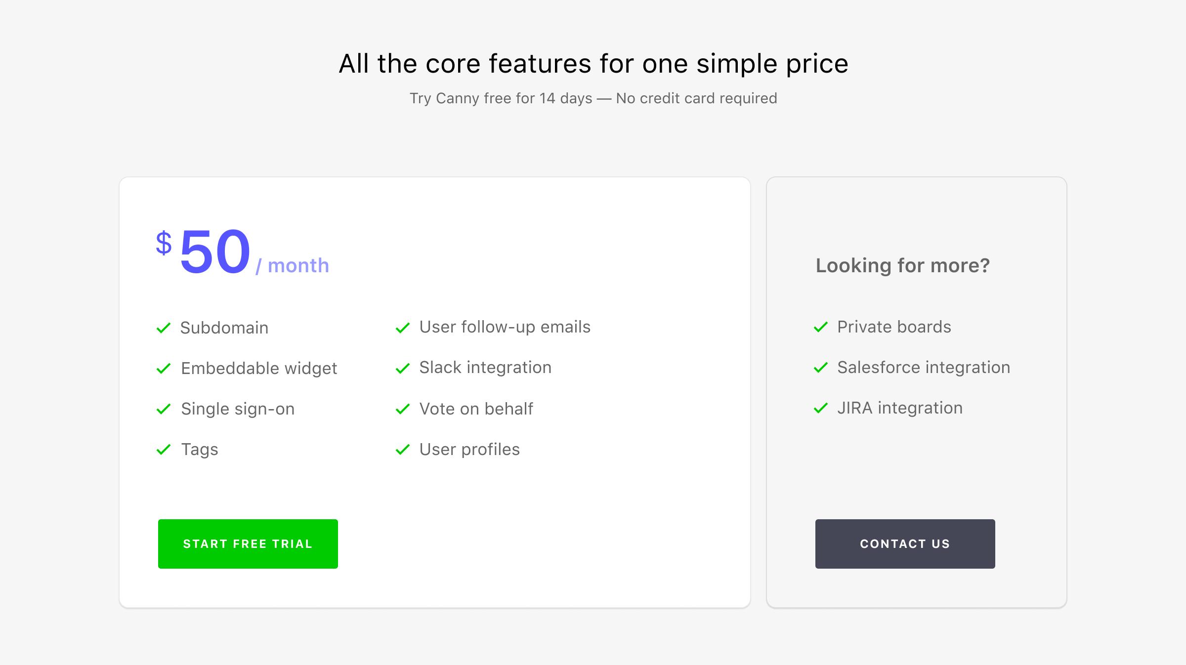 First pricing plan