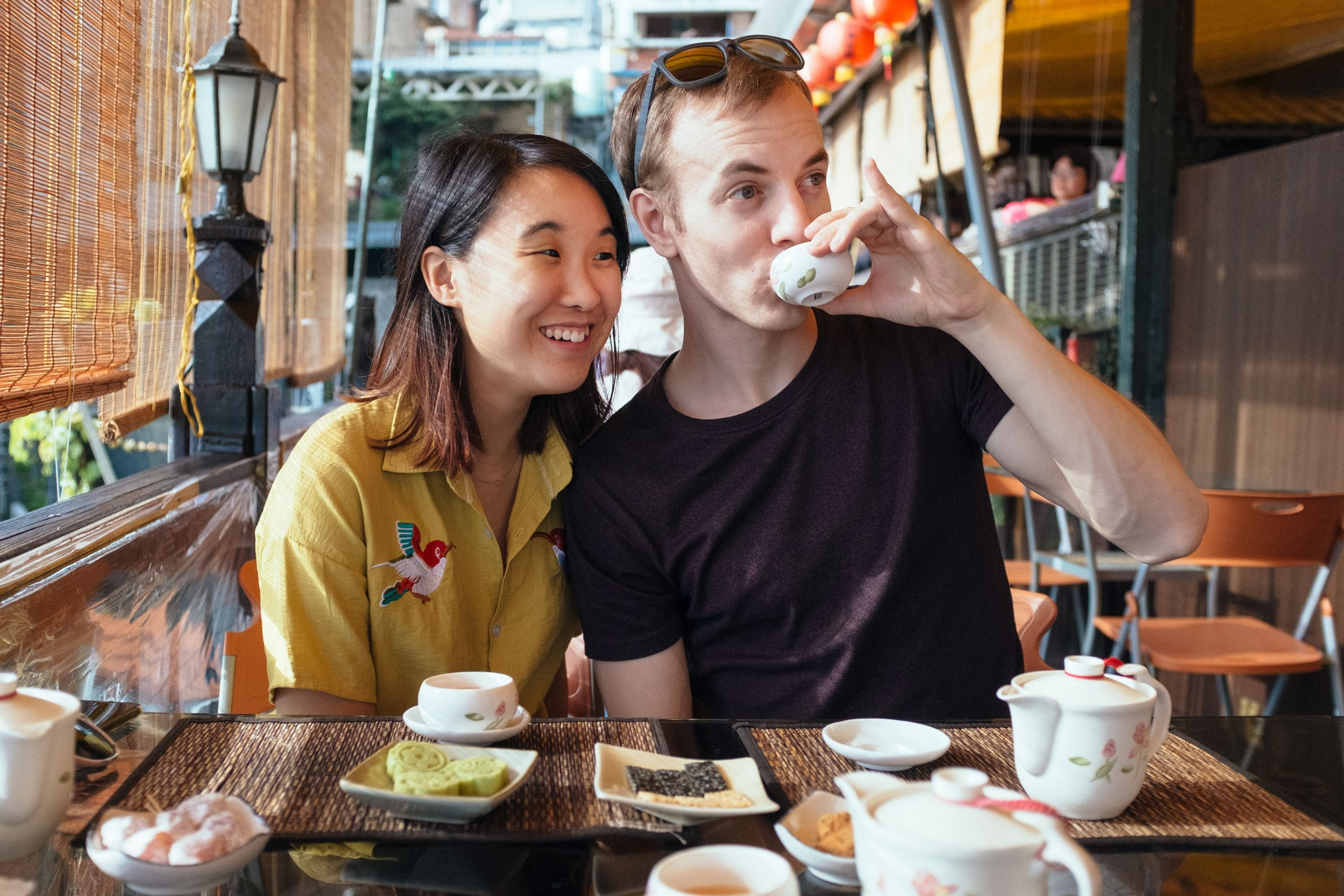 Us drinking tea in Taiwan