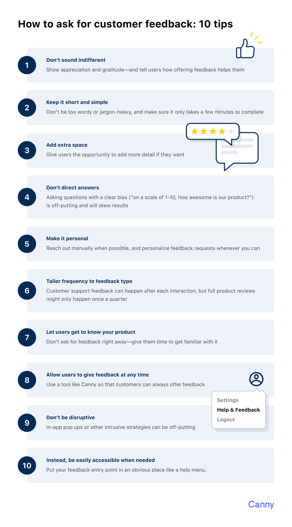 Infographic on how to ask for customer feedback