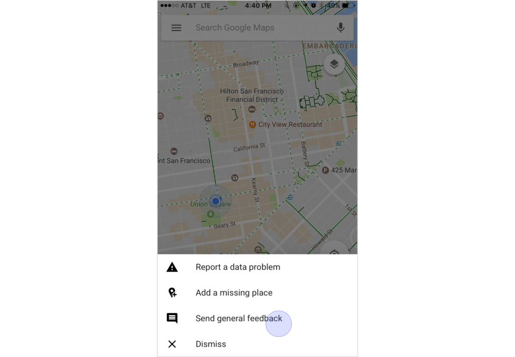 Shake phone function in Google Maps