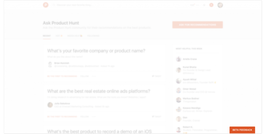 Product Hunt feedback request