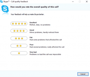 Skype feedback request