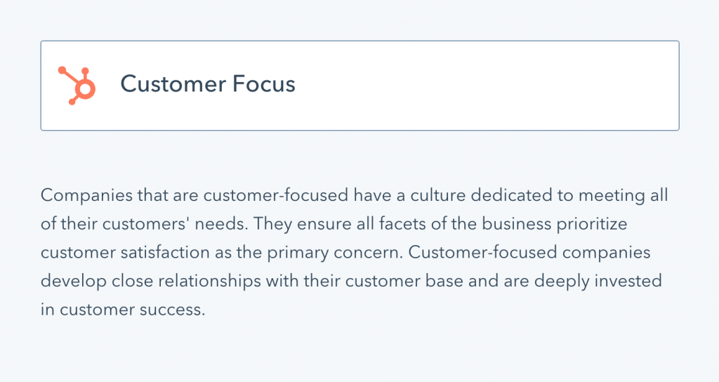 Hubspot's definition of being customer focused