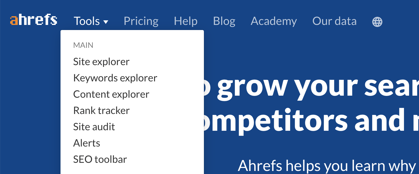 Ahrefs organizes their feedback boards by product