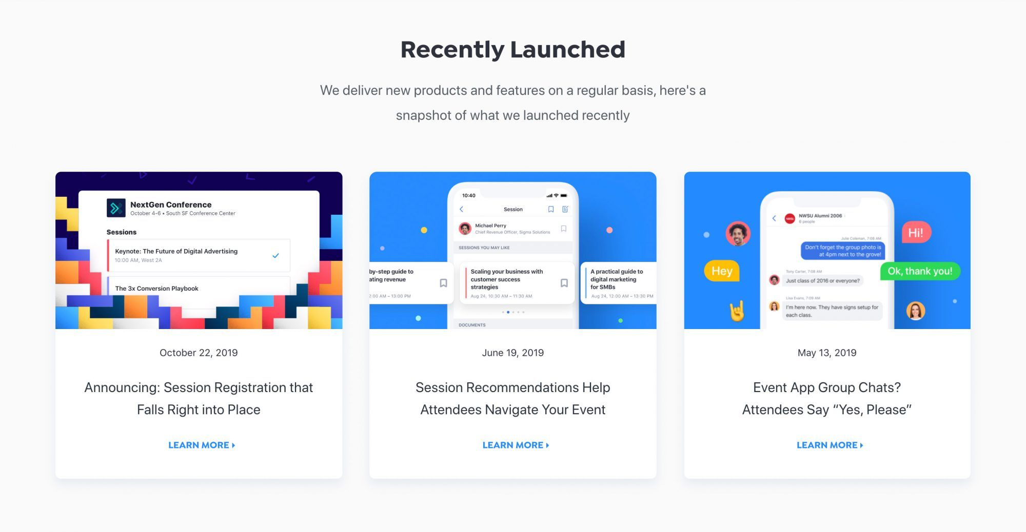 Attendify has its own section for launched features
