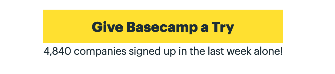 Basecamp signup CTA