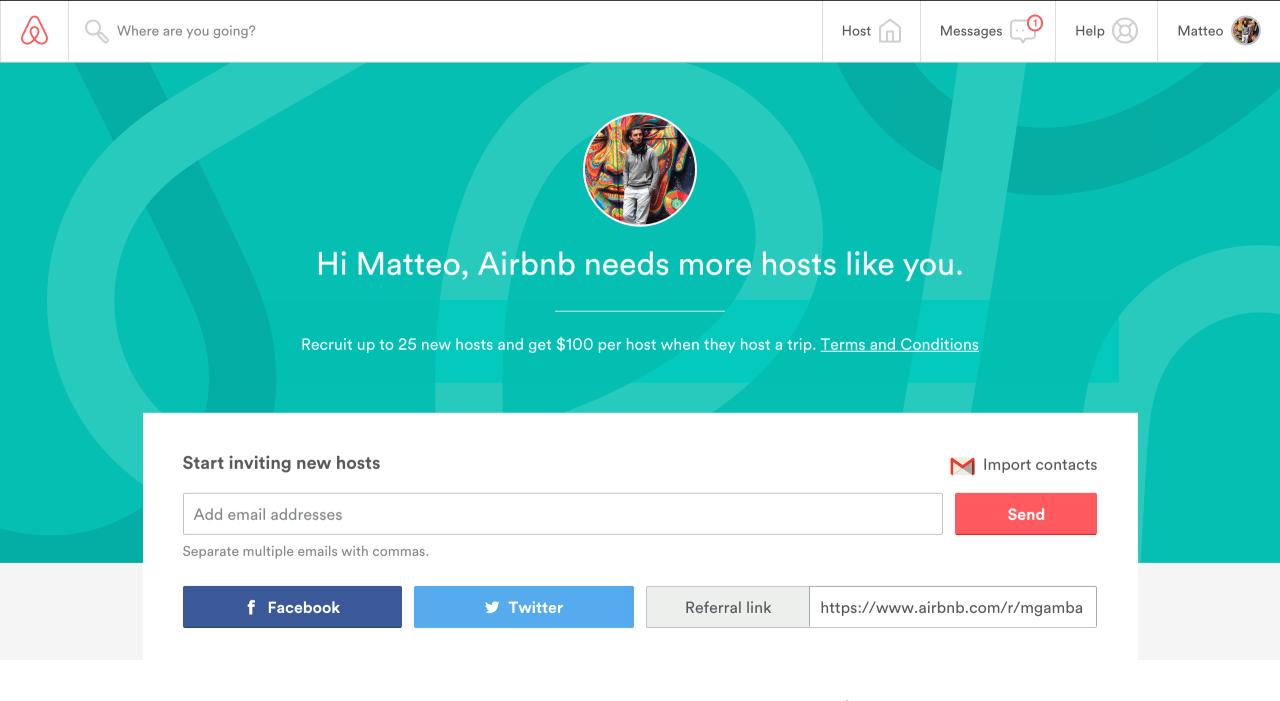 referral marketing program via airbnb