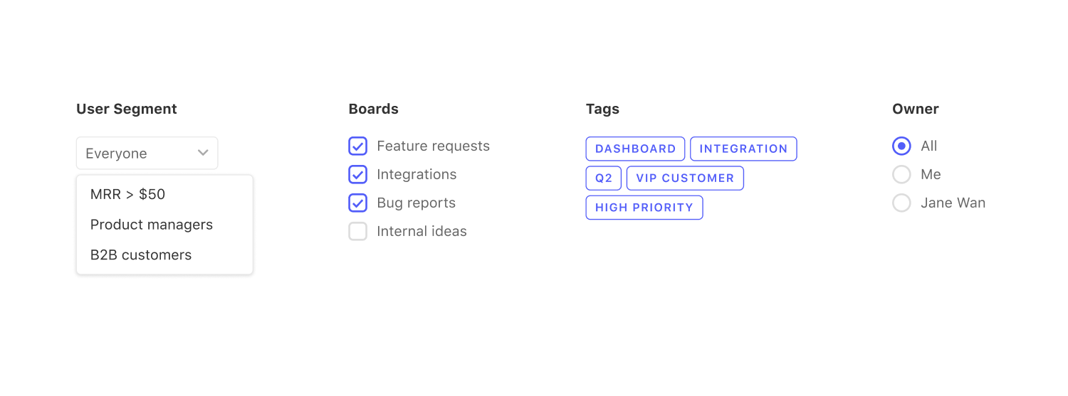 Canny features for showing off your product roadmap