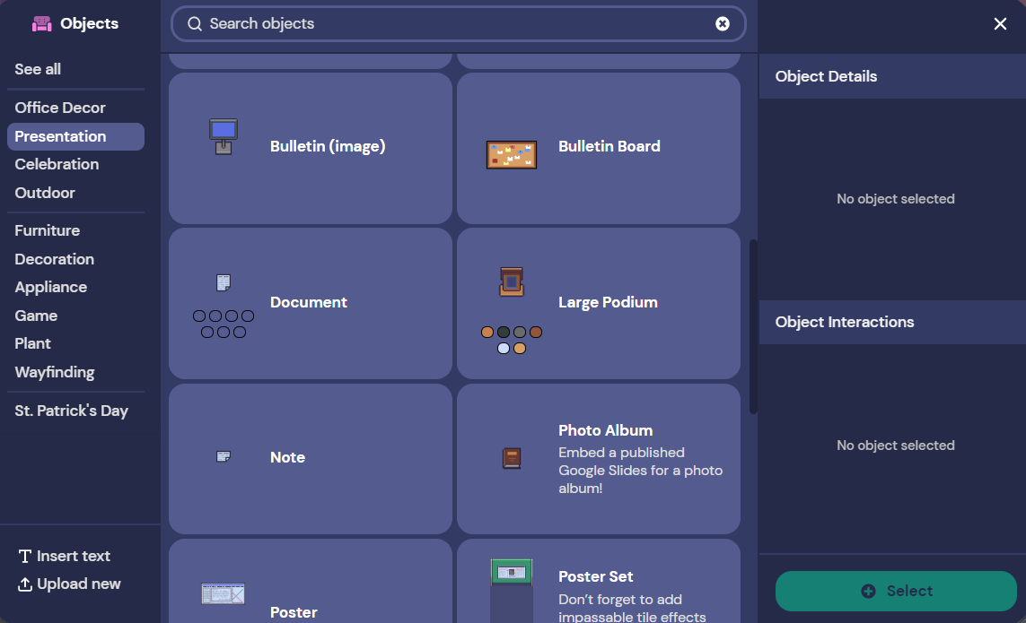 And image of our new object picker with the Presentation Category open