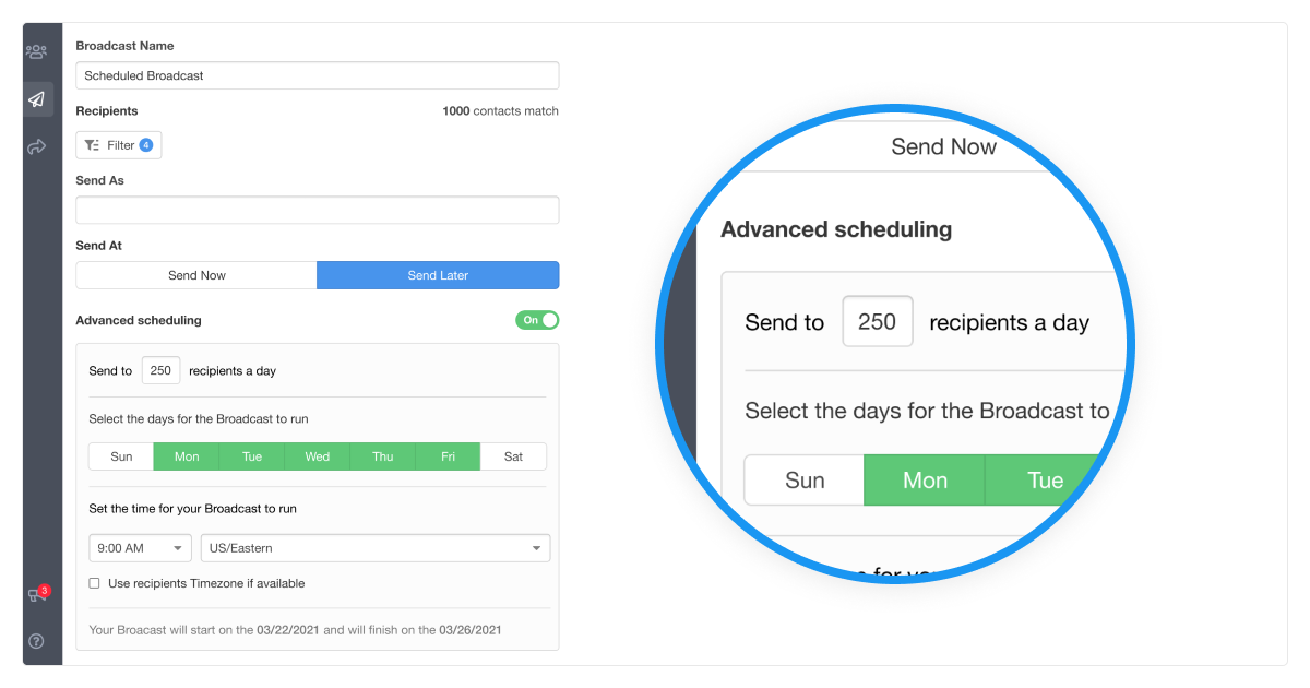 Broadcasting Advanced Drip Scheduling