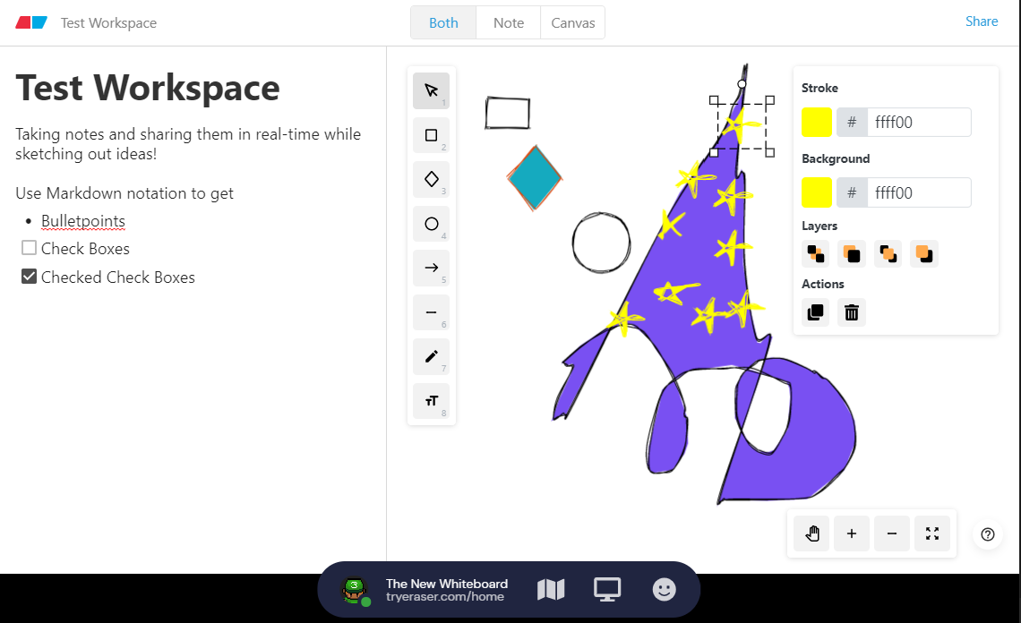 Image showing the new white board interface with notes on one side and drawings on the other. One object is selected to show properties