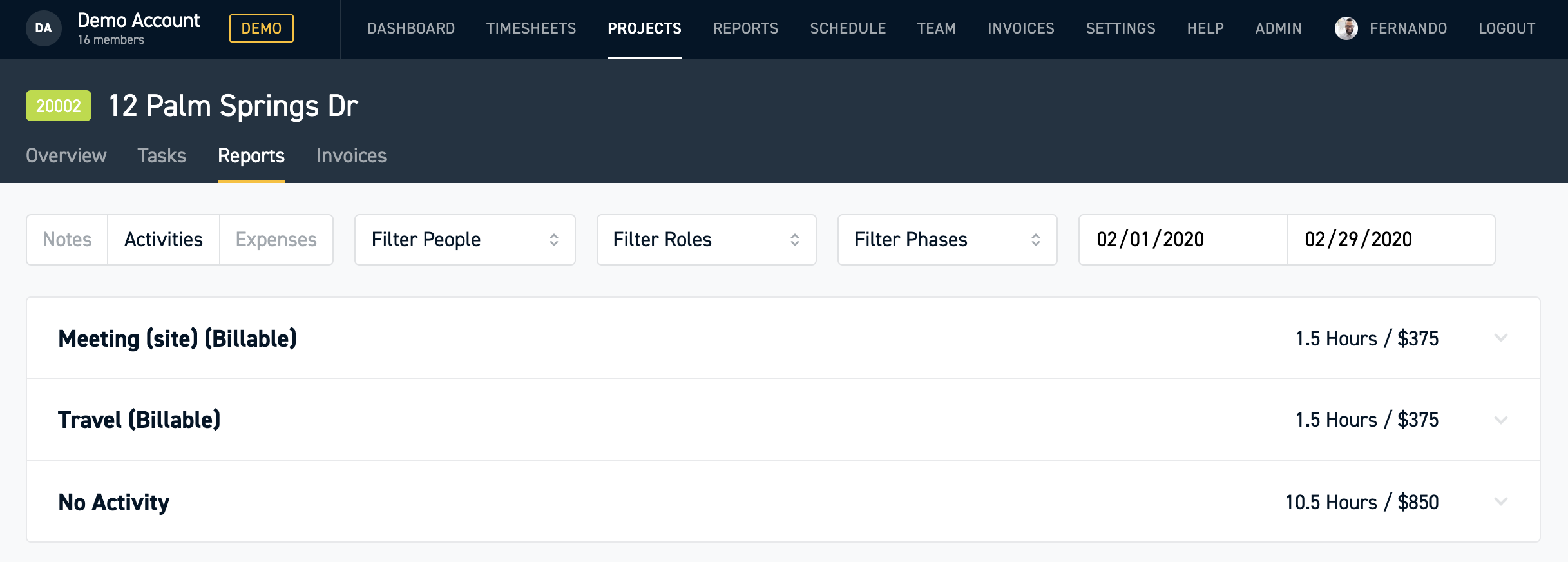 Display Uncategorized Activities as Project Reports