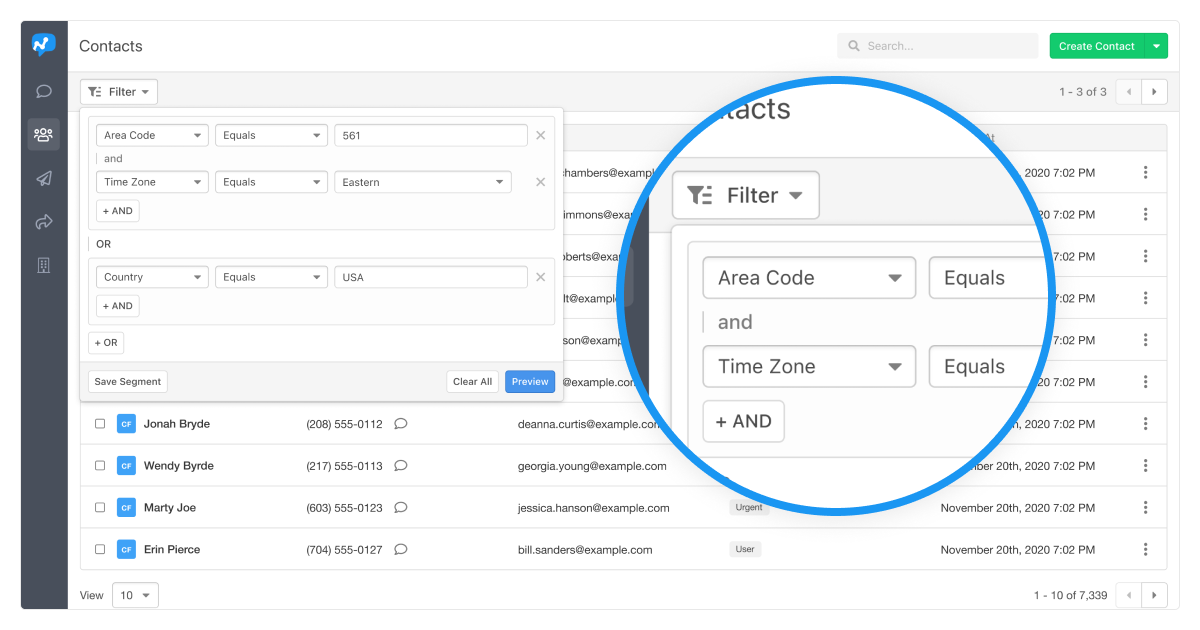Contact Filters_ State, Timezone, Area Code, Custom Fields