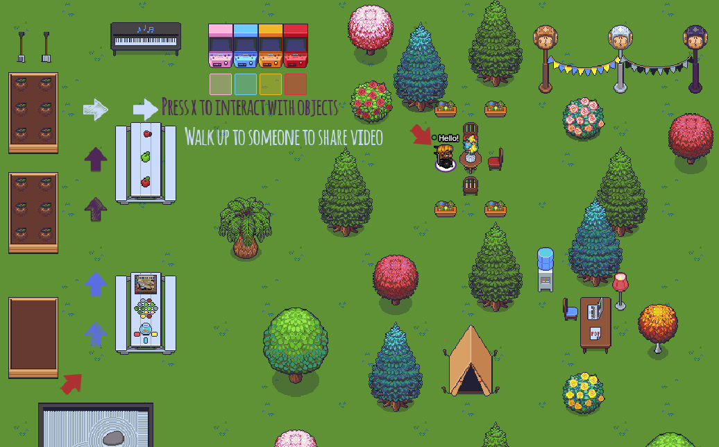 Image of a garden scene with various trees, tables, games, and decorations