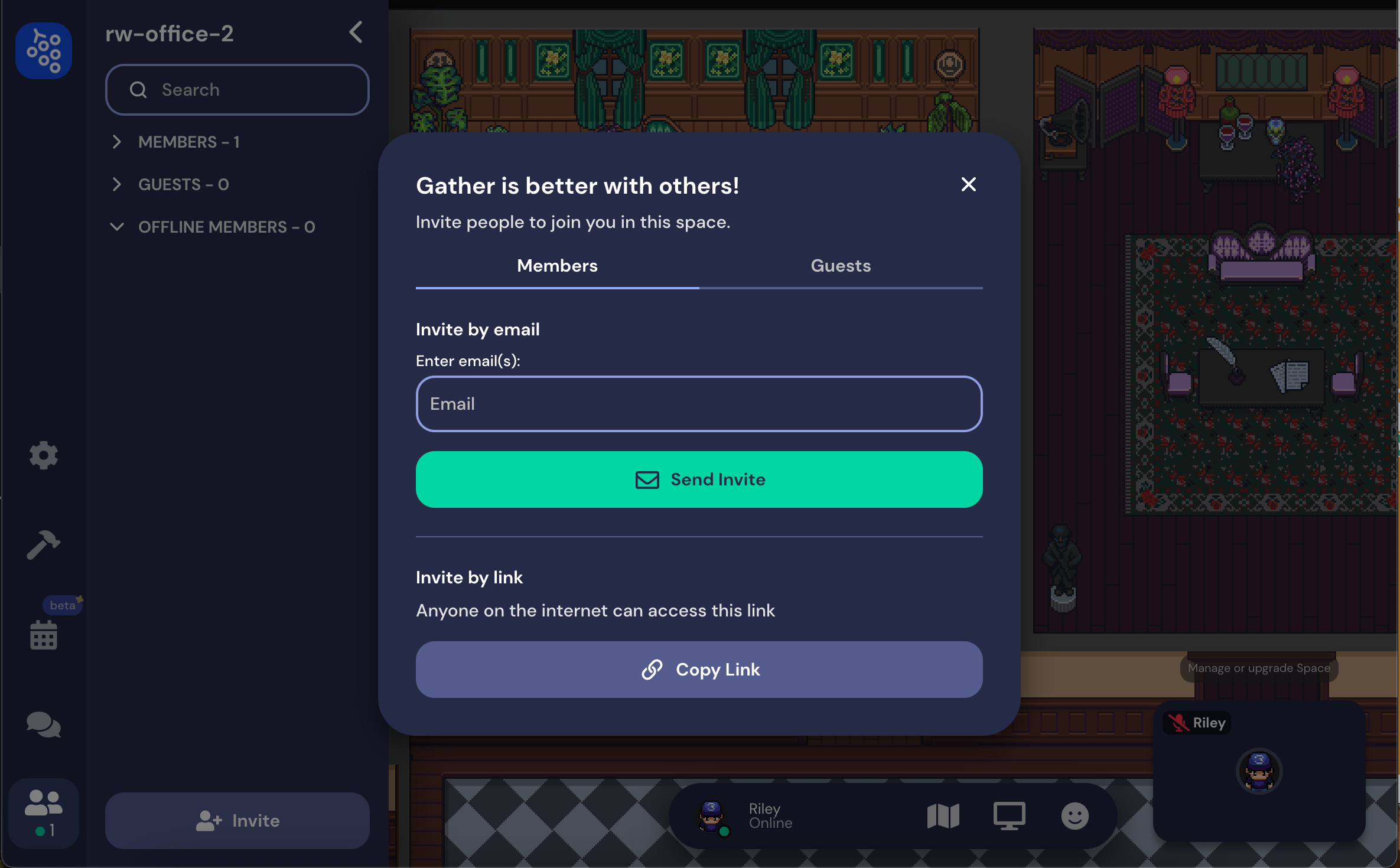 A view of the updated remote office invitation modal, which is split into two tabs: Members and Guests. You can invite up to 50 members by email or copy and paste the link to your Space. You can also create a link with an expiration date on the Guests tab.