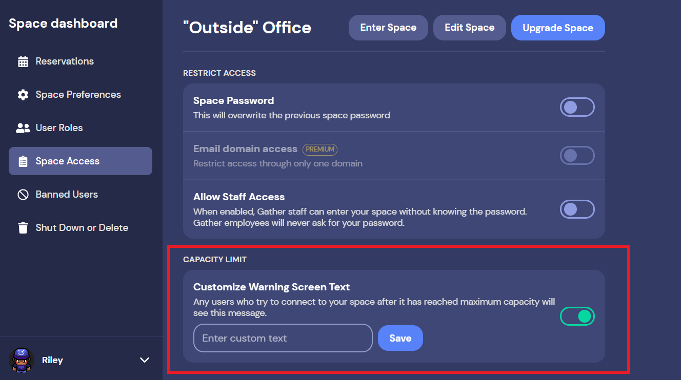 A screenshot of a Space dashboard, with Space Access active in the Left Nav Menu. In the Capacity Limit section, Customize Warning Screen Text is toggled on. You can enter a custom message that will display to new guests who try to join your Space after it has reached maximum capacity.
