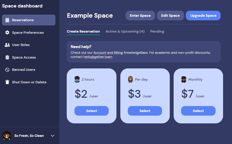 A view of the new Space dashboard. The Create Reservation tab displays, with the updated pricing for 2-hour ($2/user), Per day ($3/user), and Monthly ($7/user) reservations.