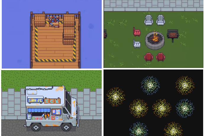 four images in a 2 by 2 grid. The upper left image is of fireworks in a box on the end of a doc, the upper right photo is of 6 chairs around a firepit with a bbq grill to the right side of the grill, the bottom left image is of an ice cream truck, and the bottom right image is of fireworks on a black background