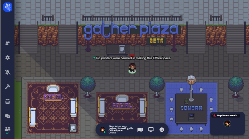 A screenshot of the beta Gather Plaza. The Plaza will offer co-working areas, seen in this image as carpeted areas with tables and chairs, to meet and network with other remote office users in Gather.