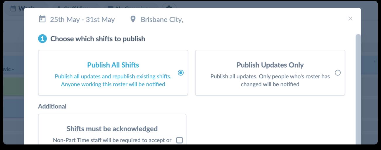 new publish modal