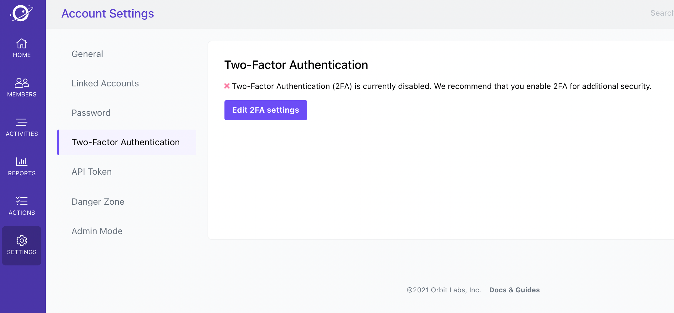 Workspace Settings > Two-Factor Authentication