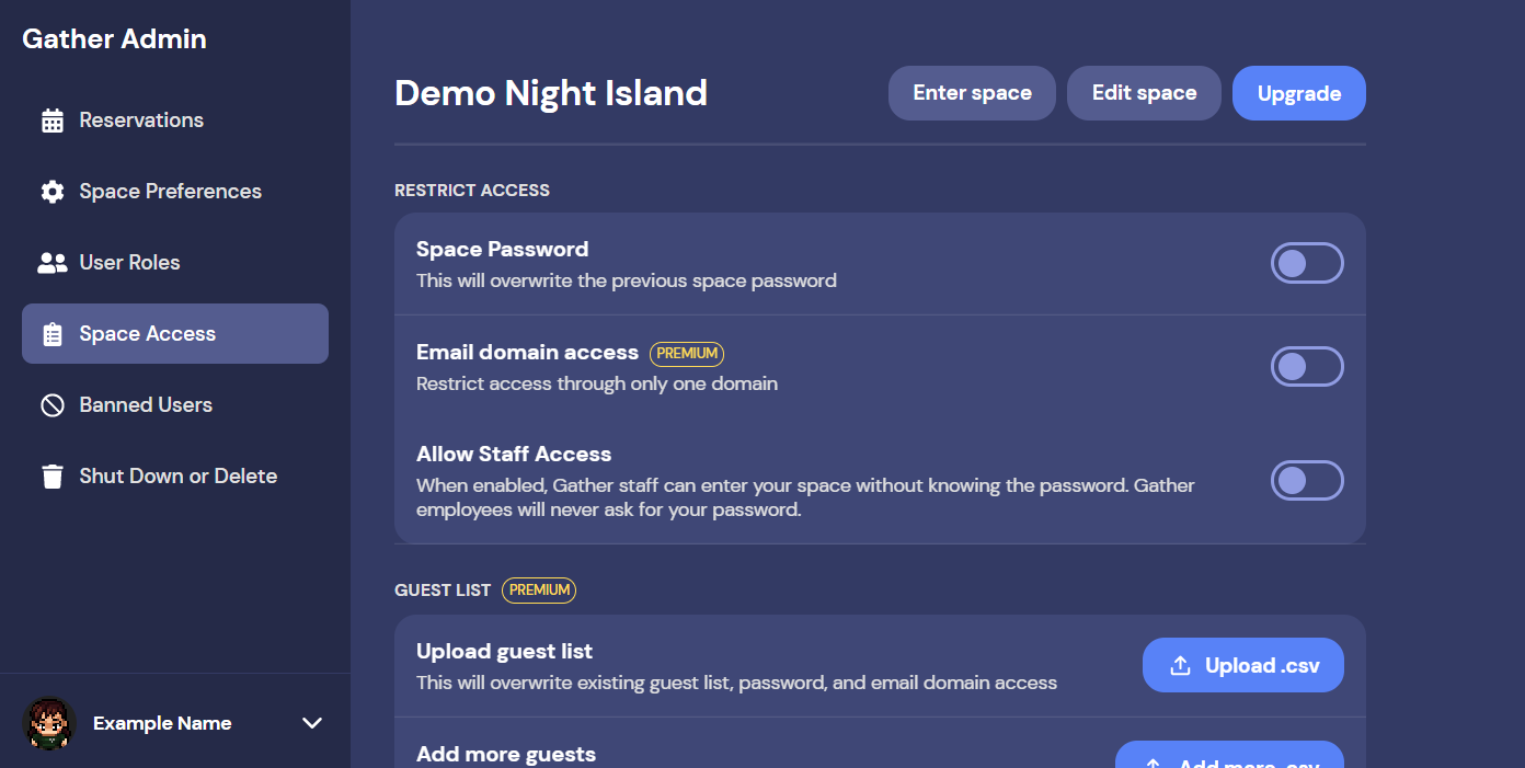 A screen grab of the new dashboard which is a lovely dark blue color with option categories on the left side and the view of the category on the right. Categories include Reservations, Space Preferences, User Roles, Space Access, Banned Users, and Shut Down or Delete.