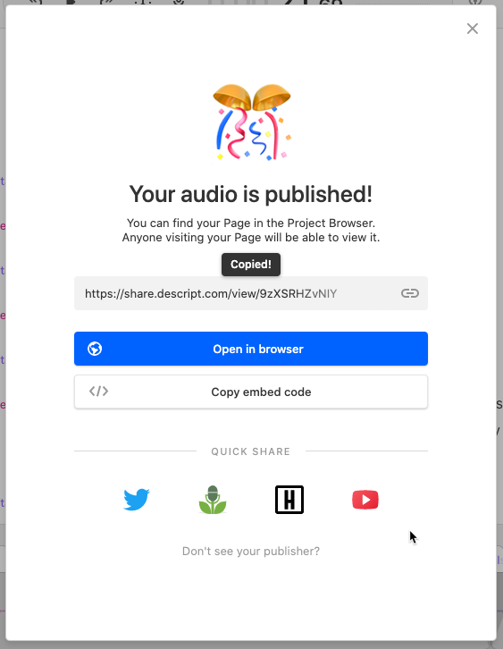 YouTube Supported in Publishes